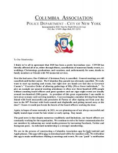 NYPD Columbia Association October 2020 Newsletter